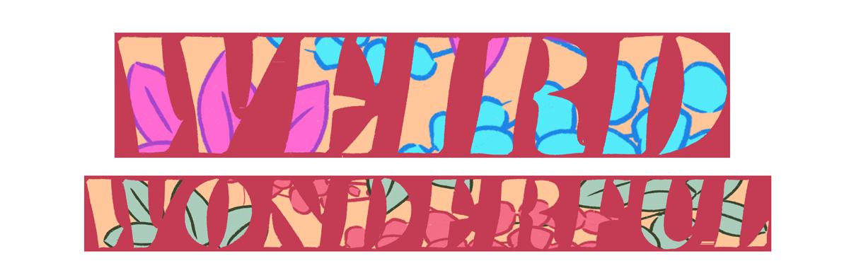 Flower-filled illustration of the word mark Weird Wonderful