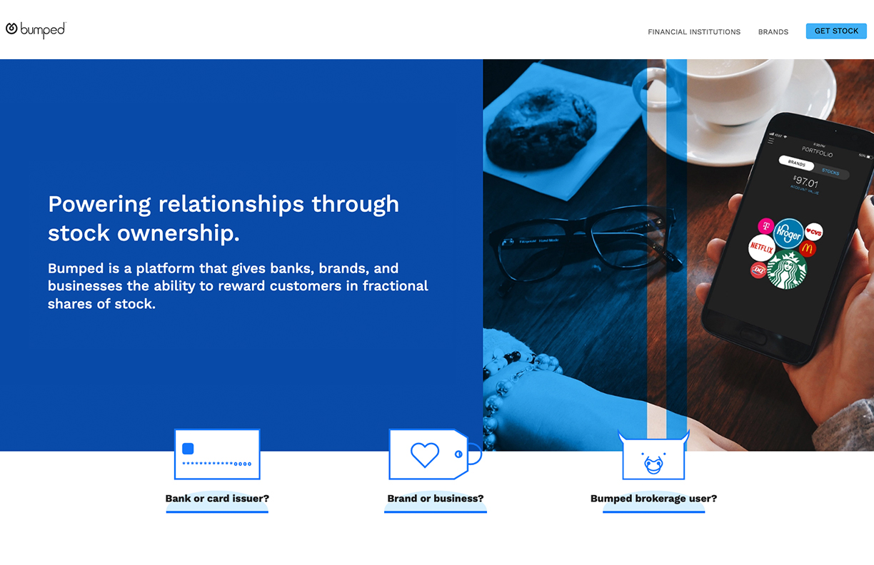 Thumbnail of the Bumped Inc. home page featuring a hand holding a phone with the Bumped app