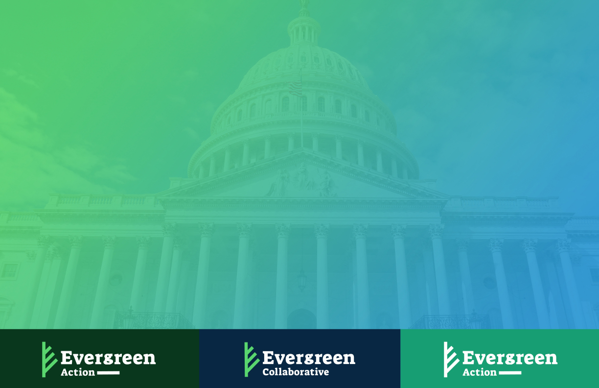 Thumbnail of the US Capitol Building with the Evergreen Action and Evergreen Collaborative logo.