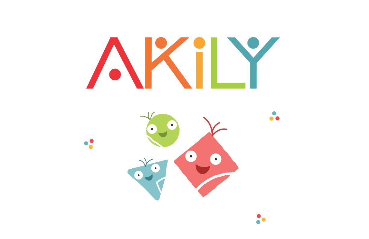 Thumbnail of the Akily logo and three cute and happy geometric characters