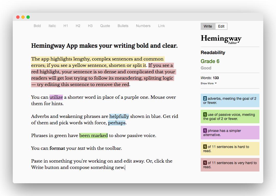 Hemmingway writing app