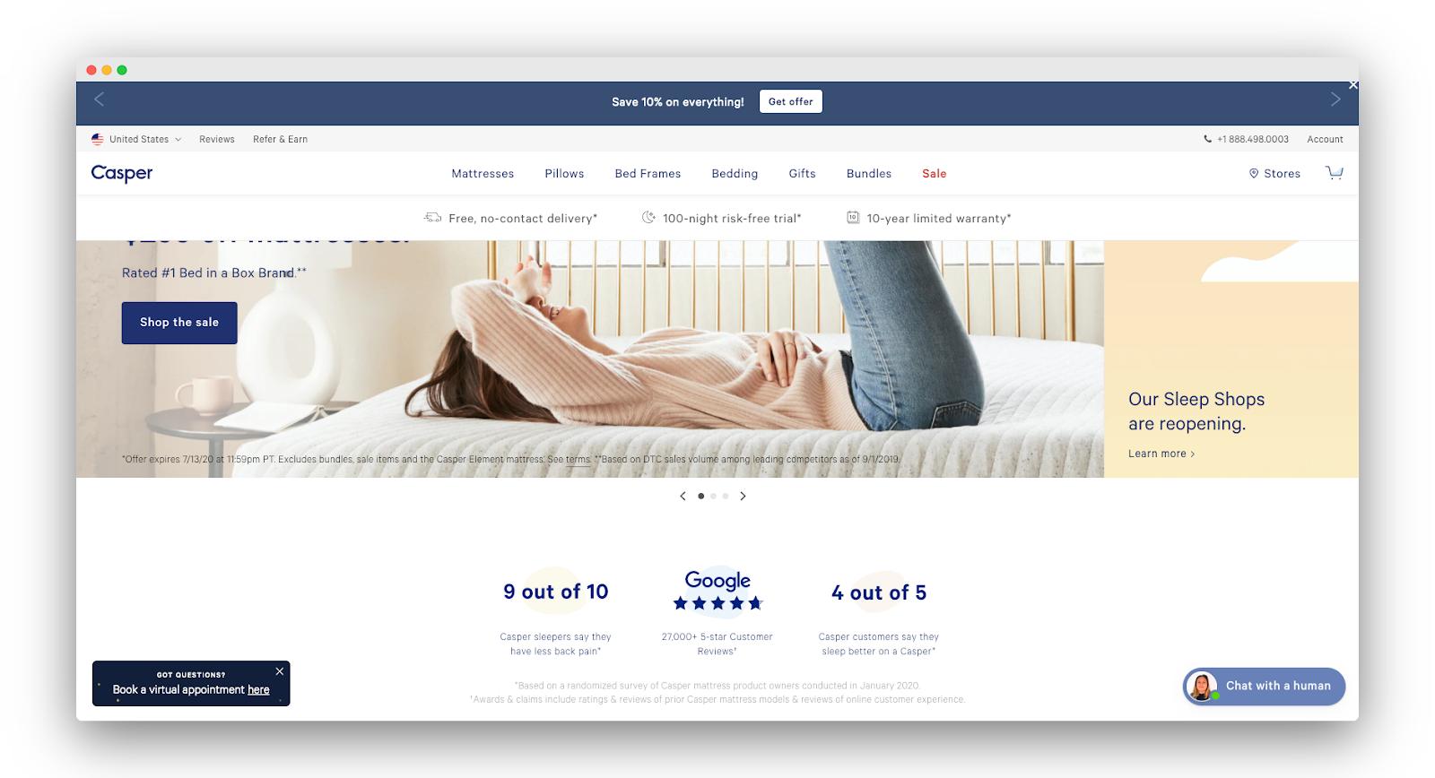 Casper homepage
