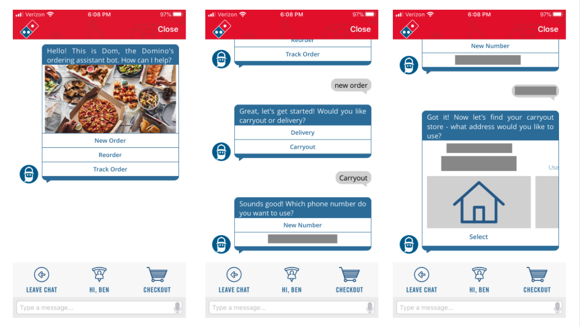 Dominos conversation design