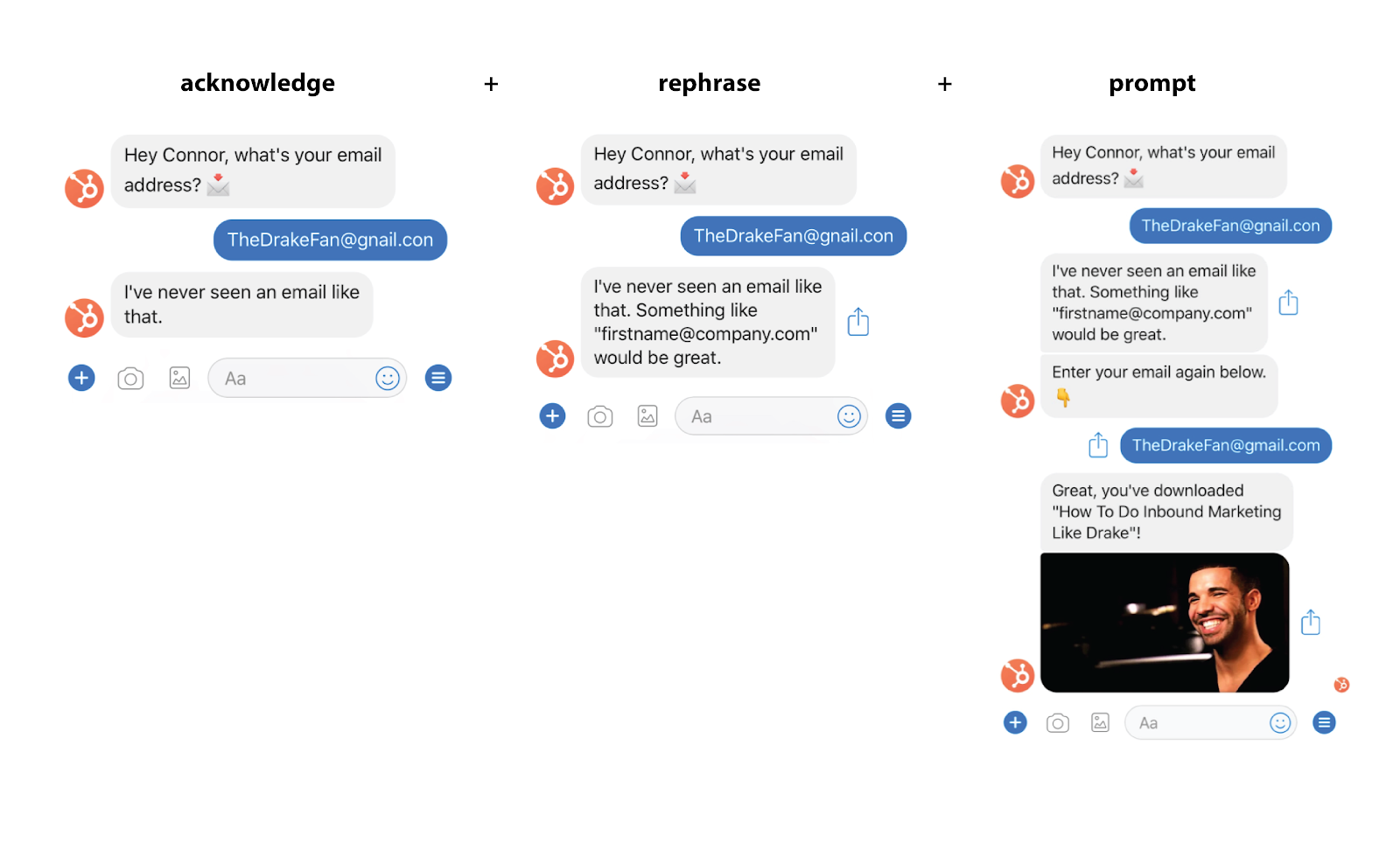 HubSpot conversational design example