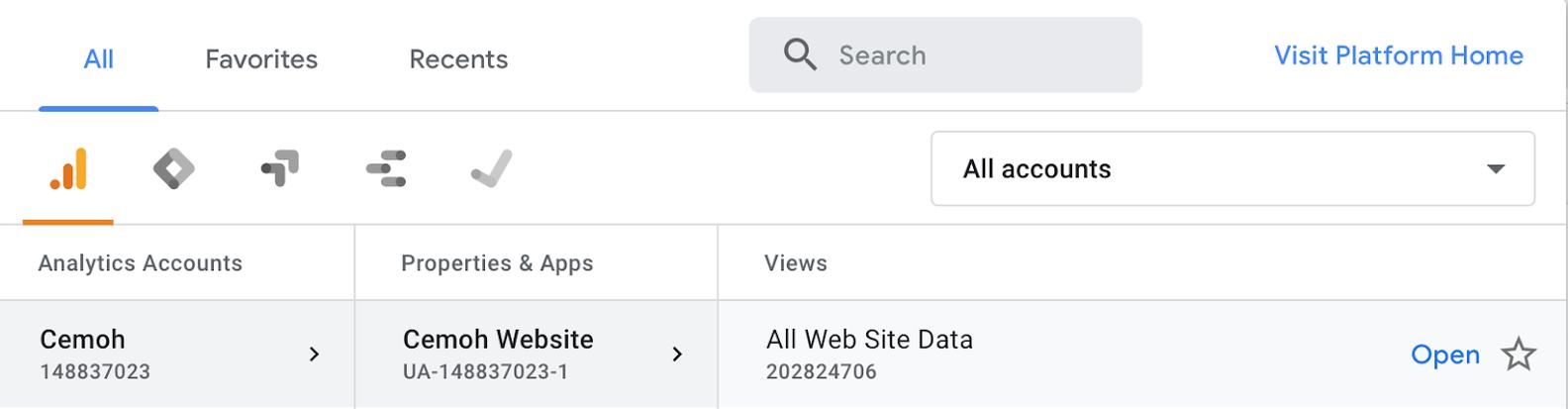 google analytics account property view