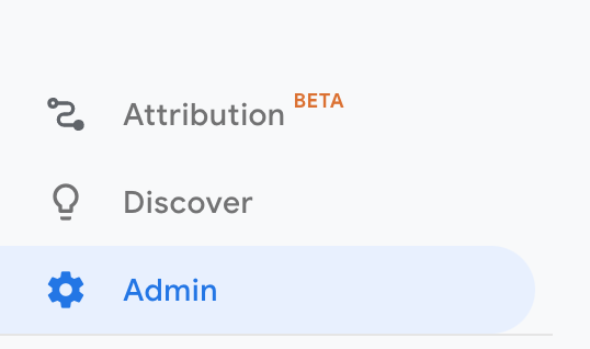 google analytics account admin button