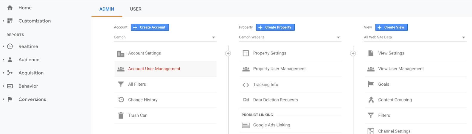 google analytics account management view