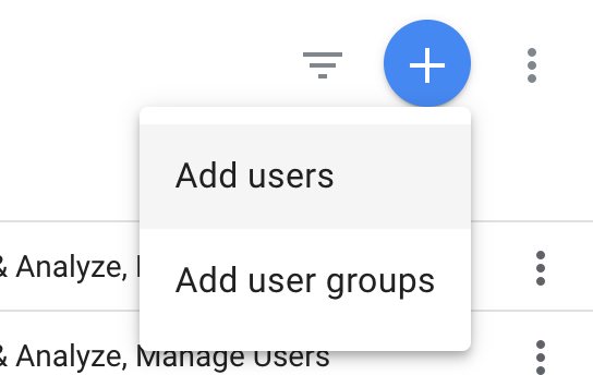 google analytics account add users drop down