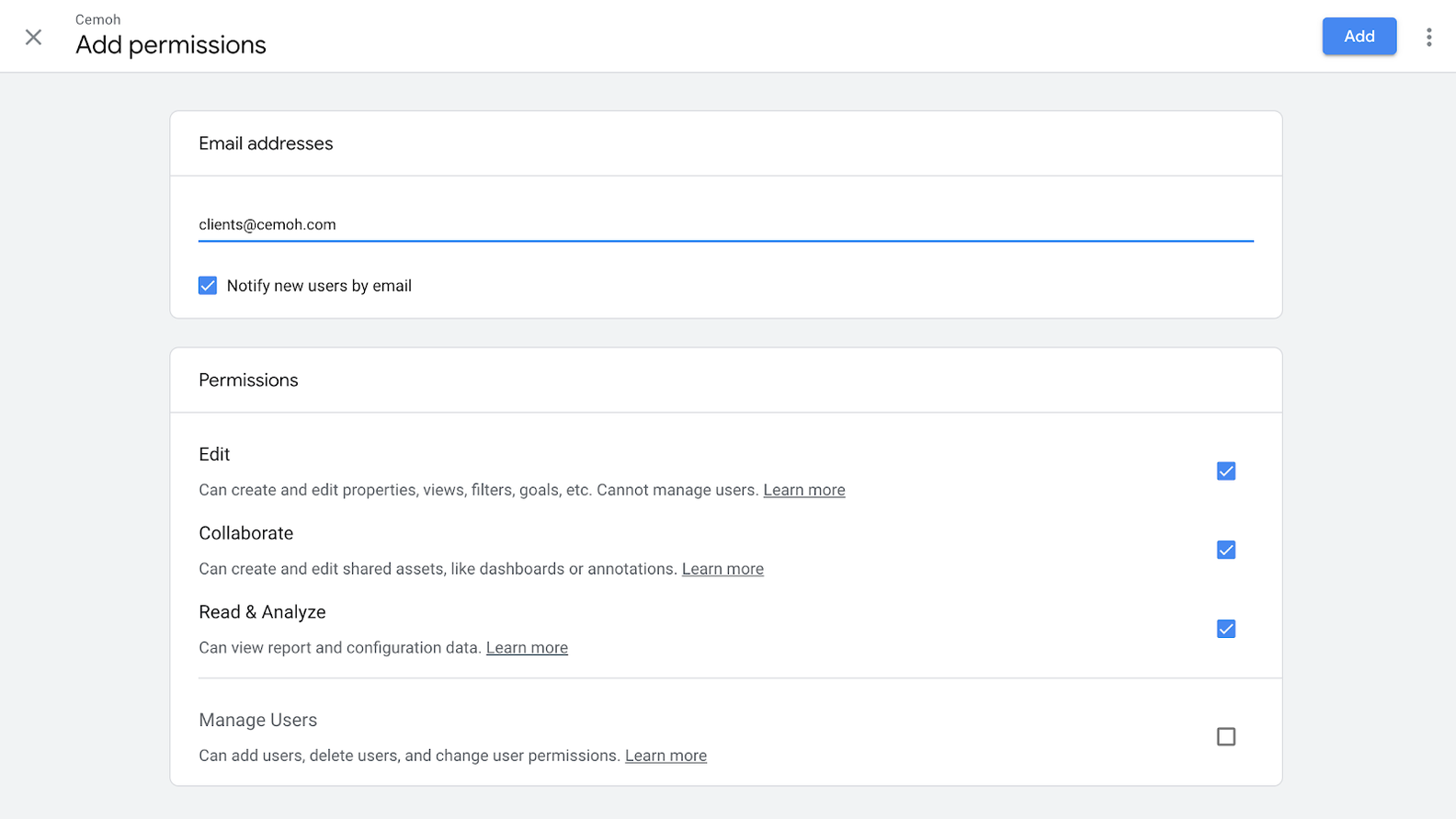 google analytics account set permissions