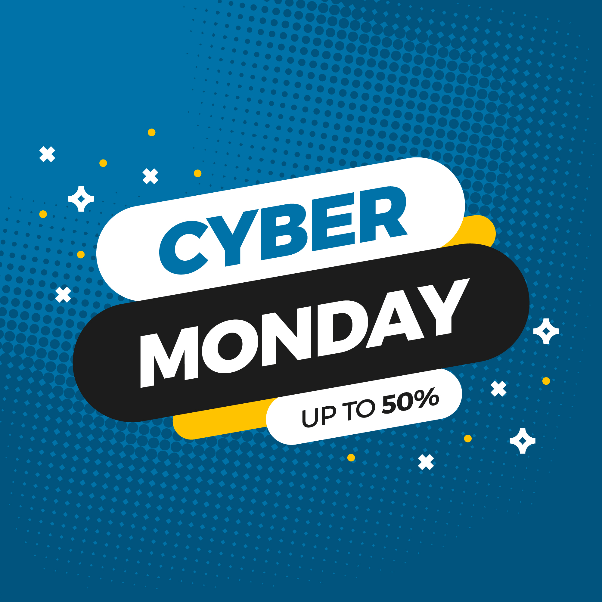 cyber monday up to 50% square social media post