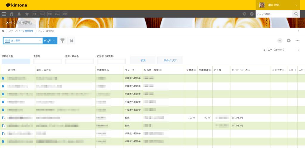 登録した求職者や企業のデータを一覧で確認できる画面
