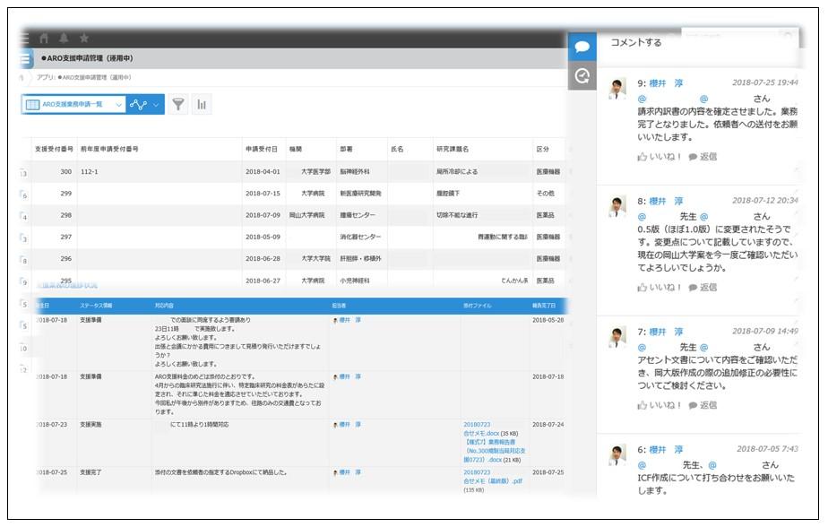 岡山大学AROの「支援管理アプリ」