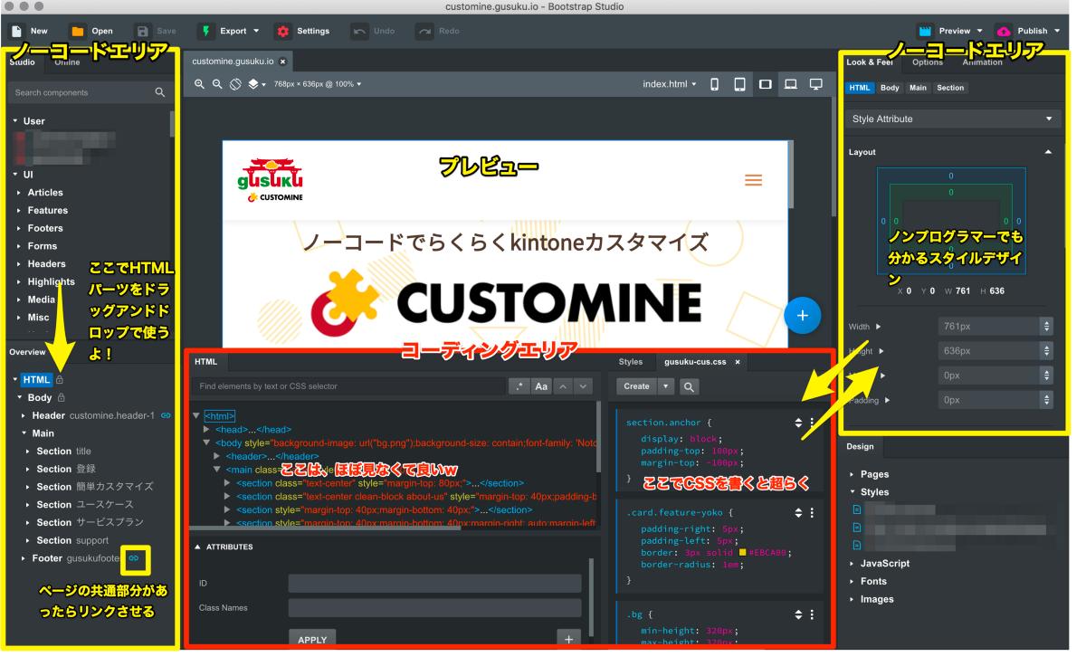 プレビュー、HTML、CSSなどが同時に見える操作画面。