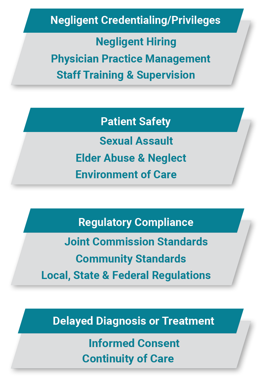 Hospital Expert Witness Areas of Expertise Include Negligent Credentialing/Privileges, Patient Safety, Regulatory Compliance and Delayed Diagnosis or Treatment