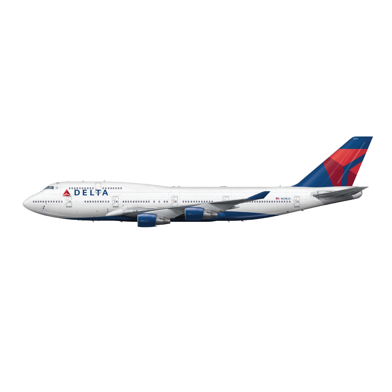 A Delta Air Lines branded Boeing 747-400 airplane