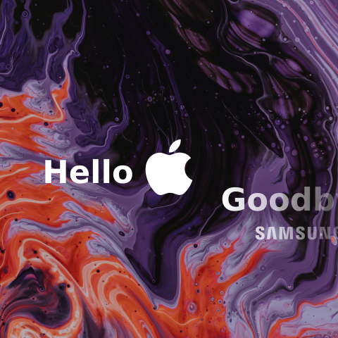 "A prominent graphic that says ""hello Apple"" and a fading away graphic that says ""goodbye Samsung"" all on an Apple-like abstract background"