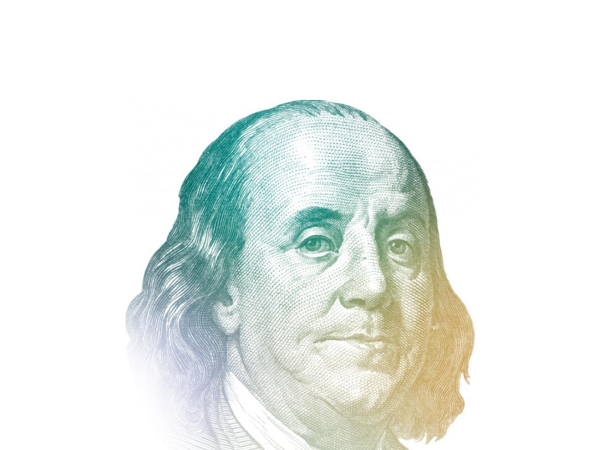 artwork of Benjamin Franklin from the US 100-dollar bill