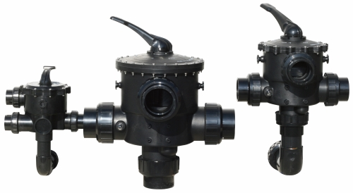 "Manual Multiport Valves easily connect to Side Mount SM Series Media filters from 20"" diameter up to 36"" diameter. Heavy duty thermoplastic construction includes either 1.5"" or 2"" half union connection."
