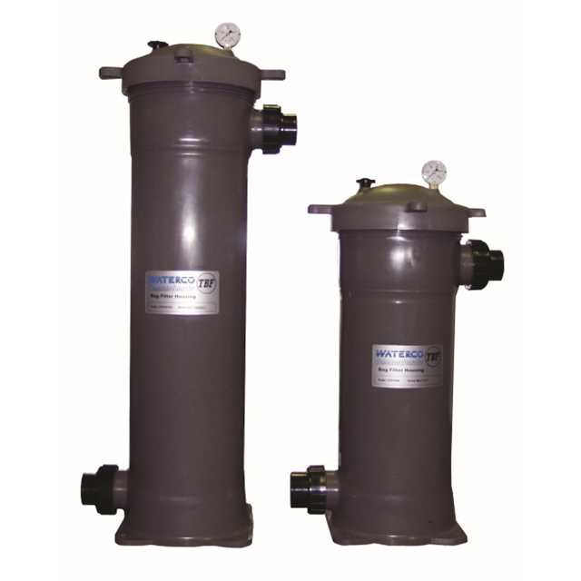 "Trimline Bag Filters (TBF) are designed to be used as a pre-filter for heavy particulate, or as a stand alone filtering system. The Trimline Bag Filter bags feature a convenient liftout handle for quick removal. The screw on lid nut is designed for easy access to the filter bag for cleaning and general maintenance. 2"" PVC socket connections. 100% polyester fabric bag element. Pressure gauge and air relief valve standard with each unit. Special screw on lid nut for easy access to the filter bag element. Bags must be ordered separately. Trimline Bag Filter Housing (50 PSI) Includes Air Relief Valve & Pressure Gauge (Non-Oil Filled)"