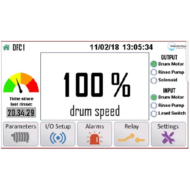 AquaPLC  Intelligent Drum Filter Controller screen