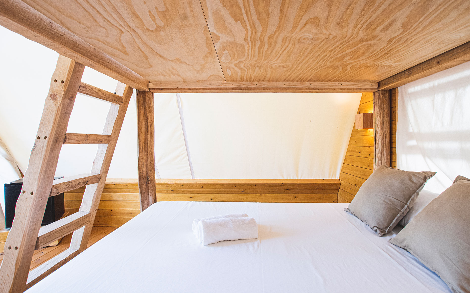 Interior tienda TEACAMPA, una cama cómoda