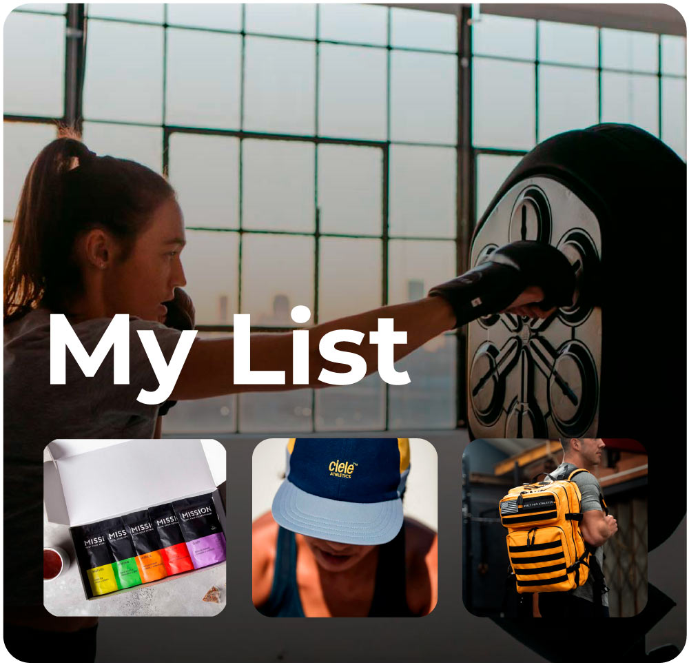 Thumbnail of your NextSet list displaying liteboxer, built for athletes backpack, ciele, and mission tea.