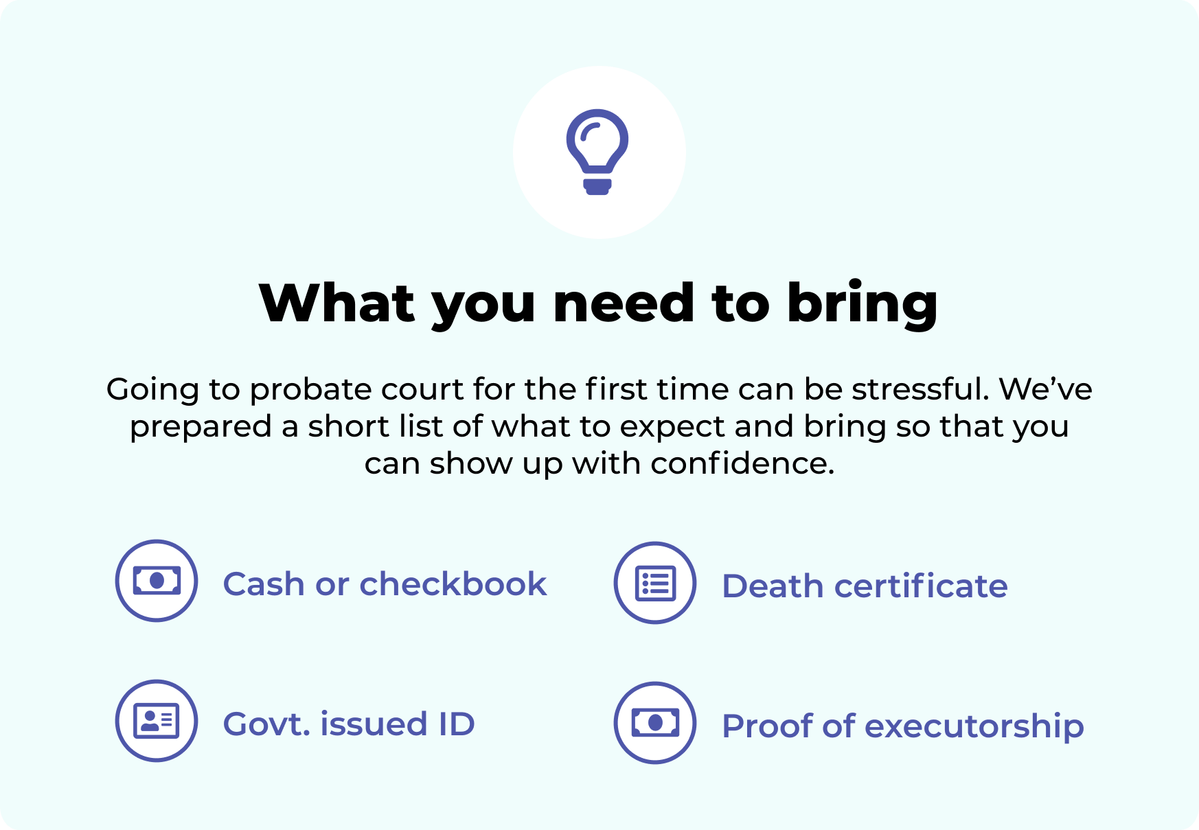 Infographic reminder to bring cash, government issued ID, death certificate and relevant last will & testament documents when visiting probate court.
