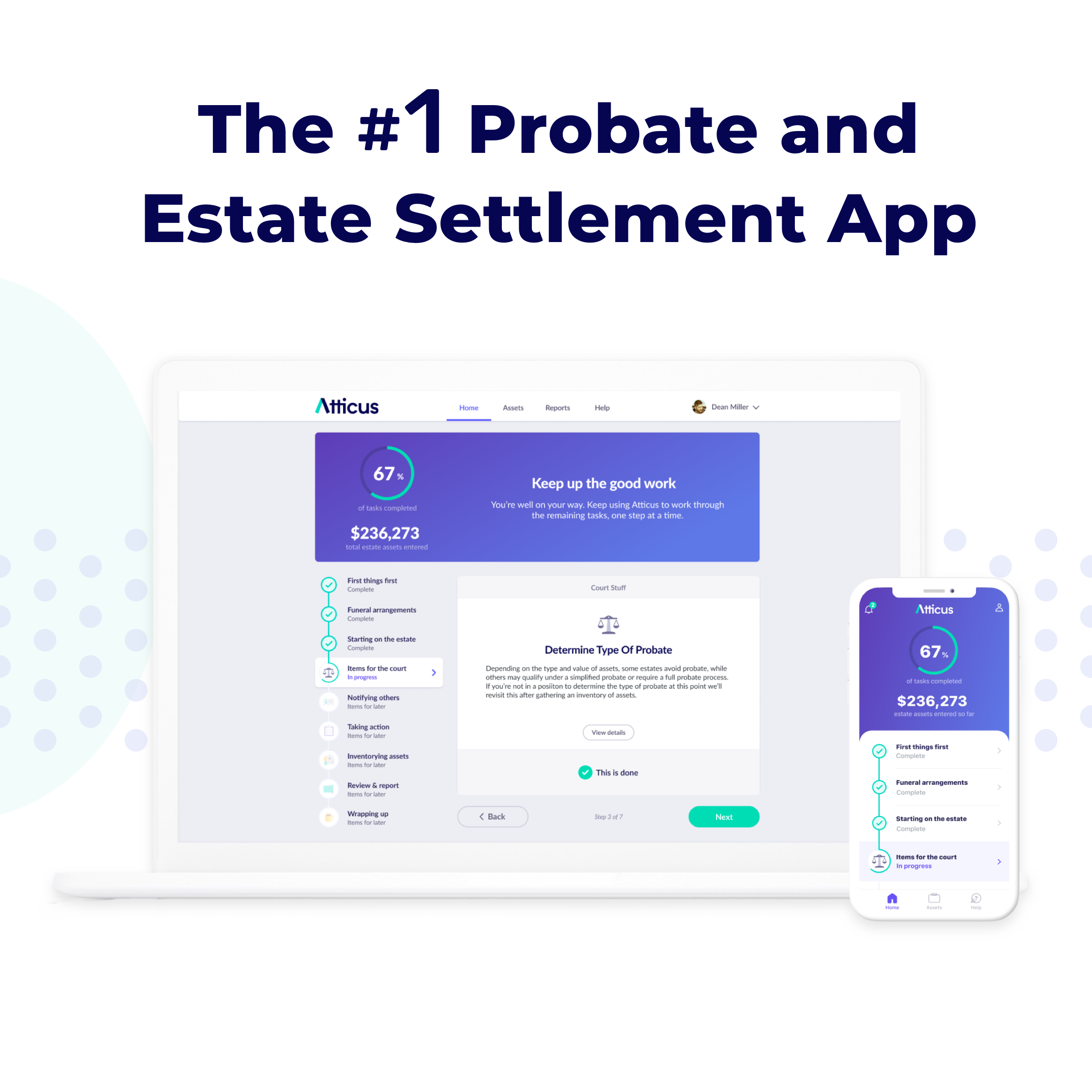 Atticus App Estate Settlement Dashboard
