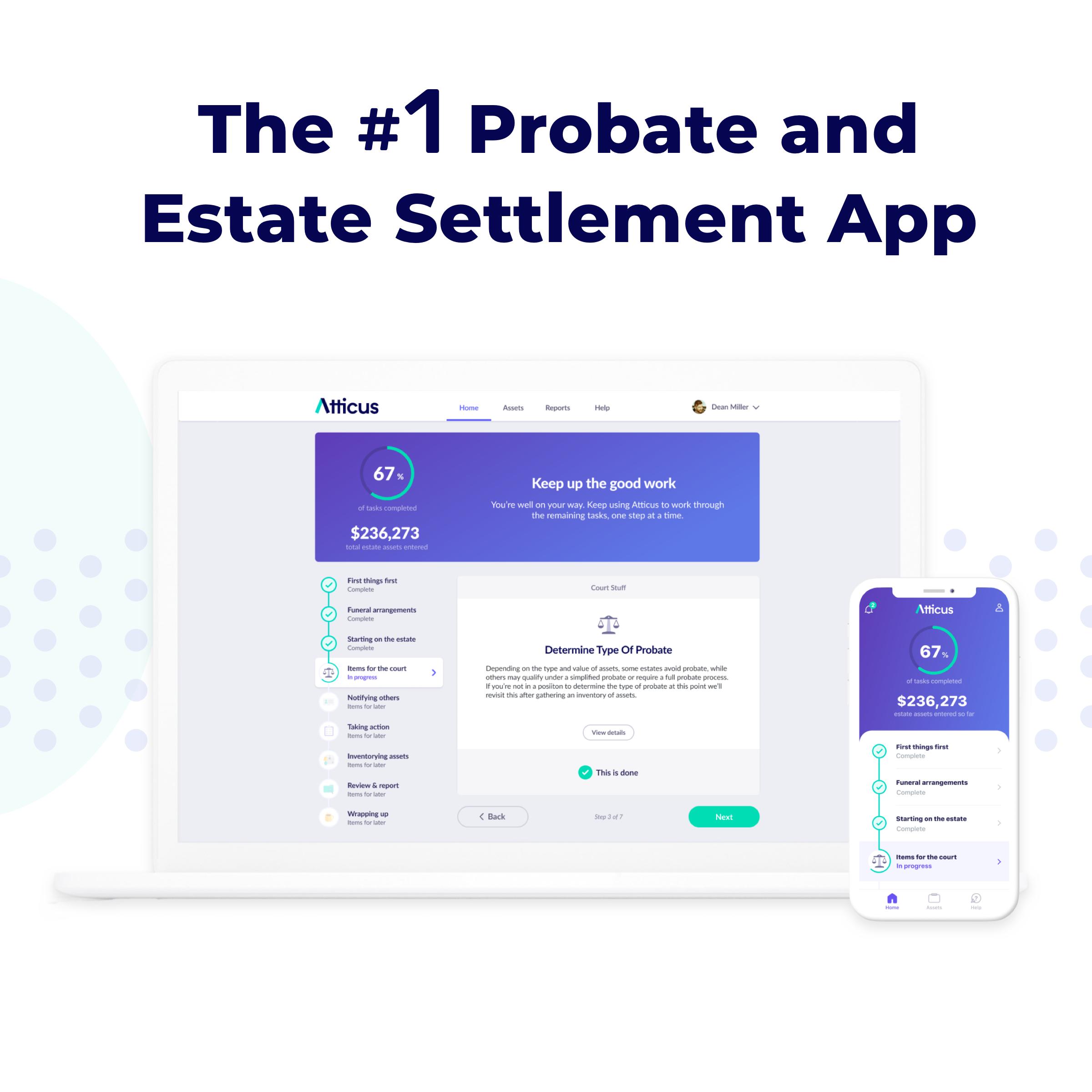 Atticus App Estate Settlement Dashboard