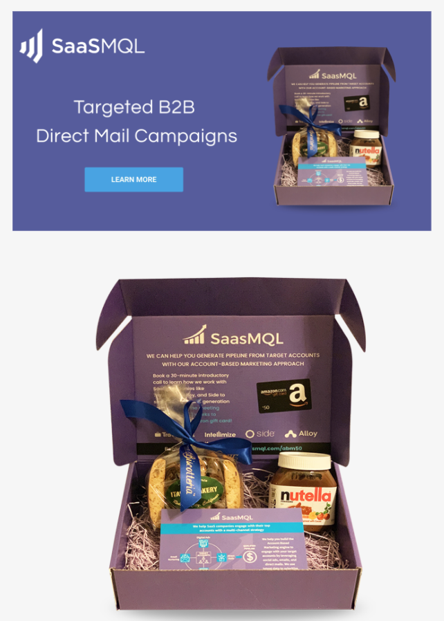 B2B direct mail example - SaaSMQL