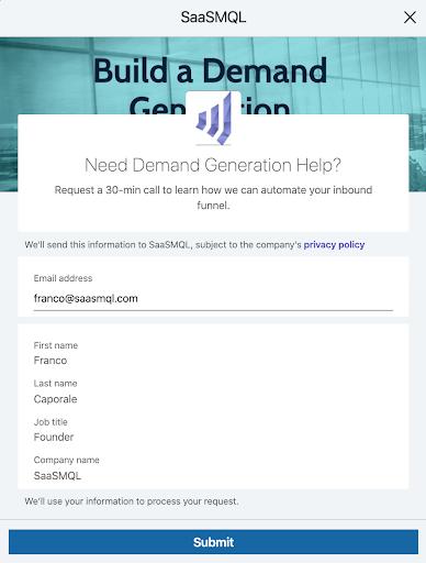 Need Demand Generation Help - LinkedIn Ad