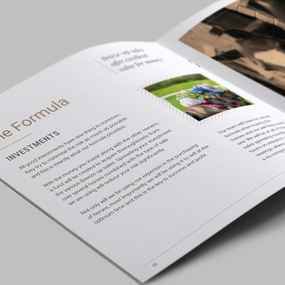 Open spread, page design for professional brochure.
