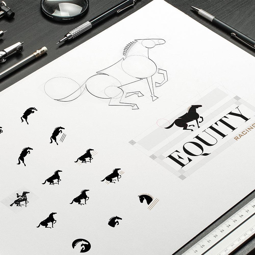 Illustration of a horse for a logo motif design