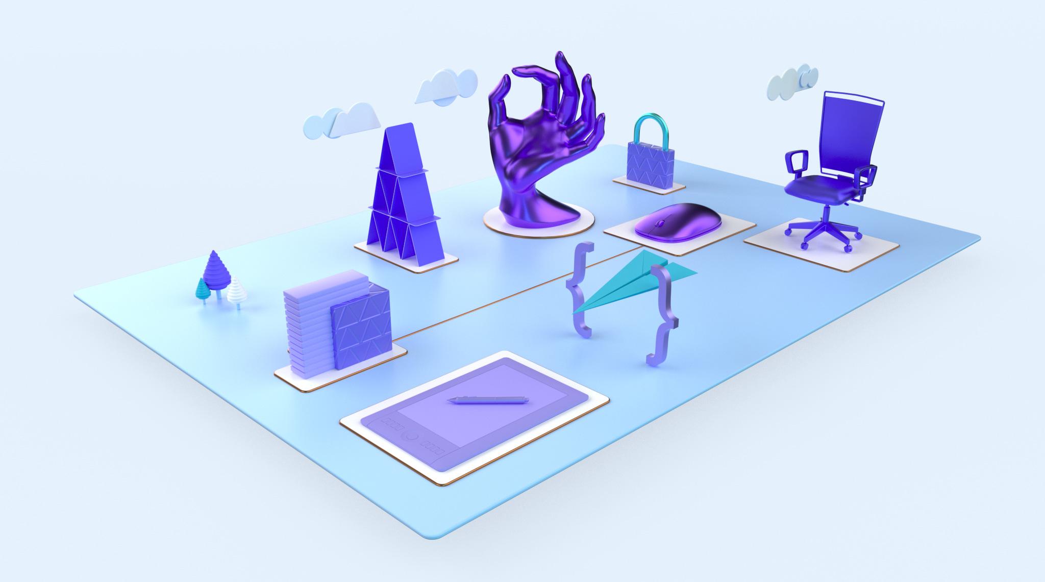 3D render of website design assets and inspiration.