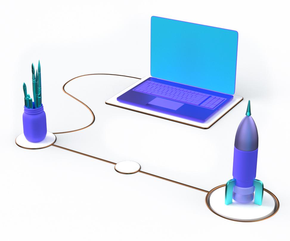 3D render of laptop, rocket and pens.