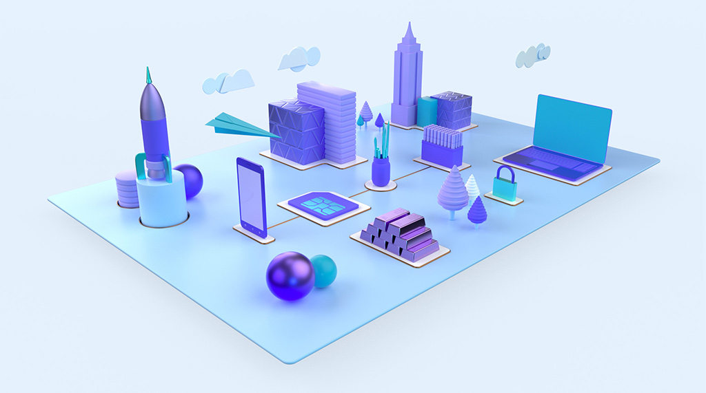 3D render of creative design assets communicating logo and branding design.