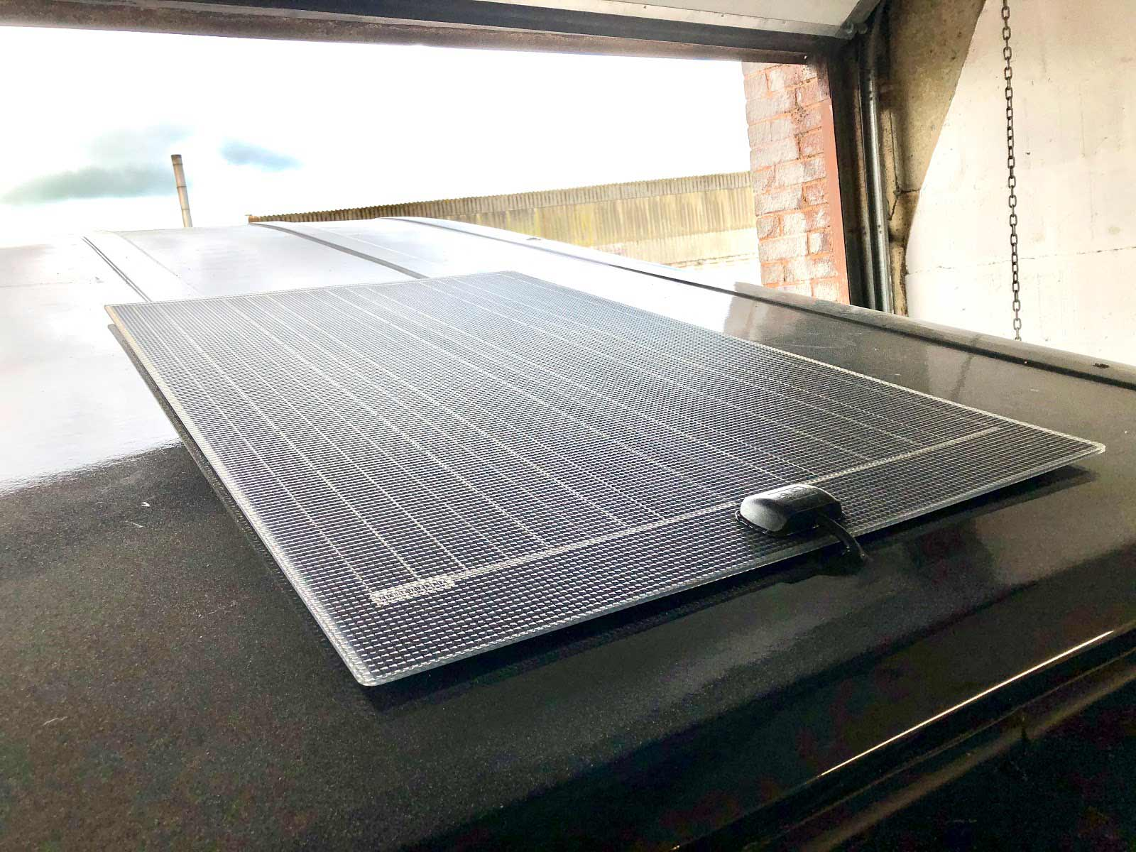 A solar panel on a campervan conversion