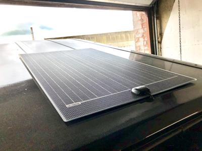 A solar panel on a campervan conversion