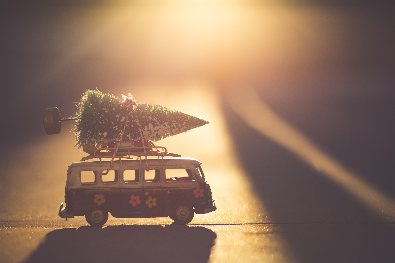 Christmas VW Transporter going camping