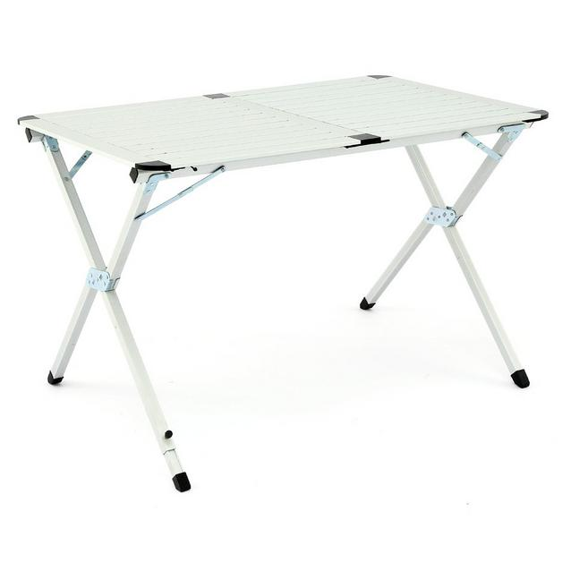 a white foldable camping table