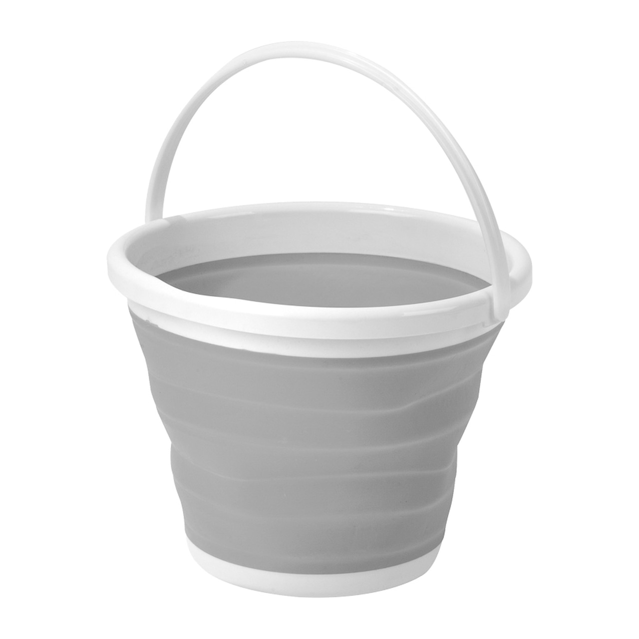 grey and white collapsible bucket