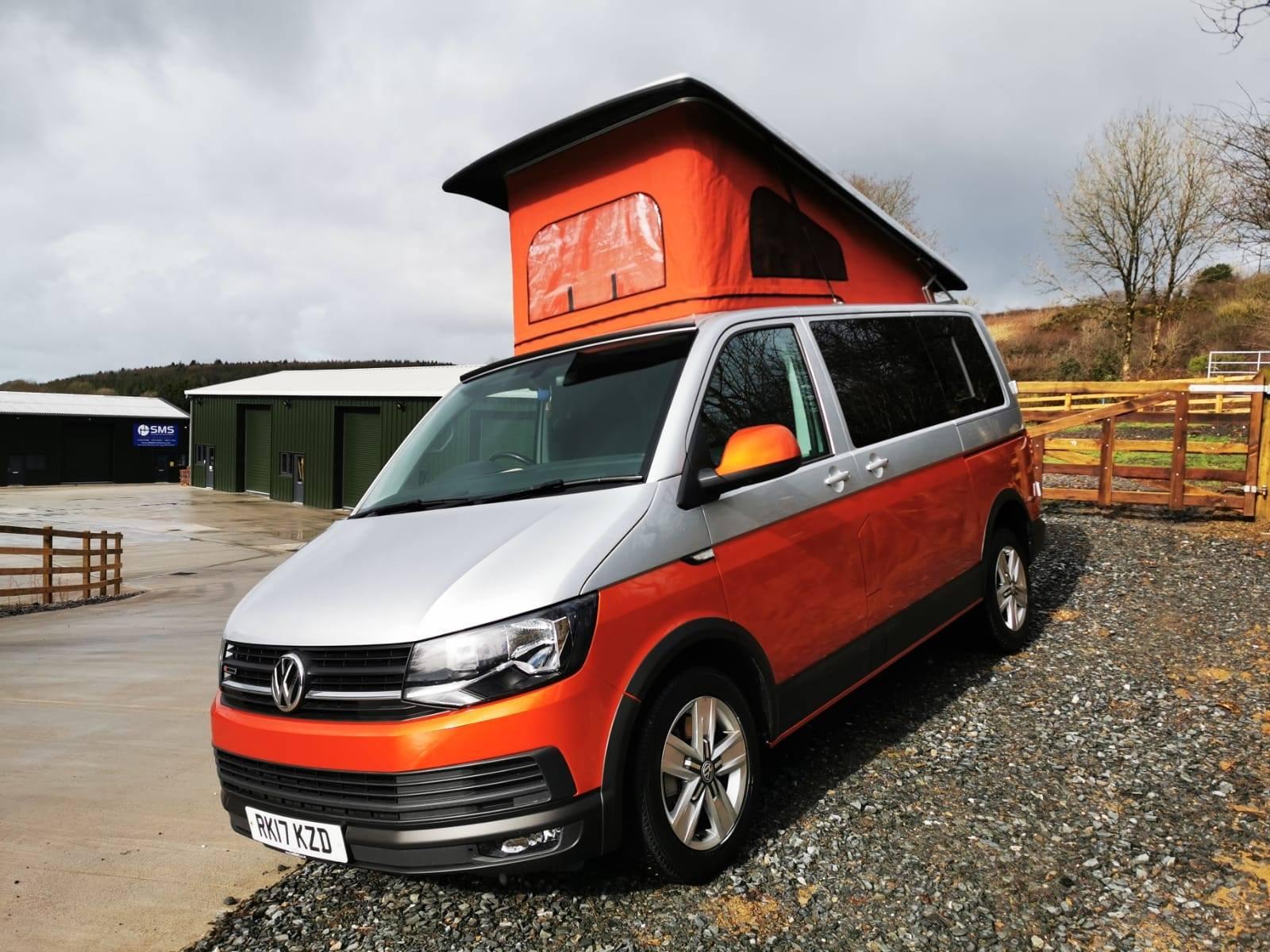 orange and silver VW campervan conversion