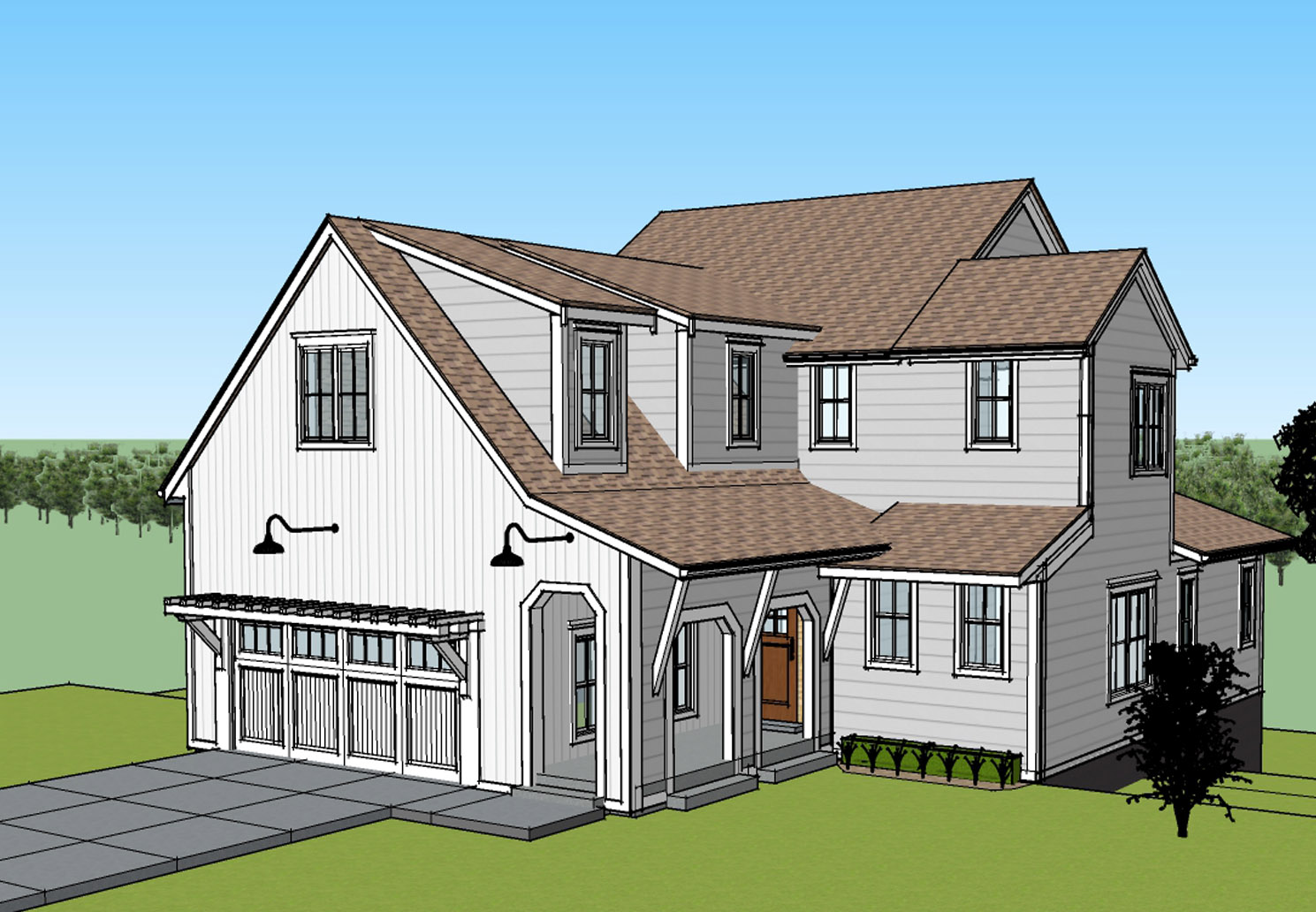 Elevation concept image of a house under construction in Tamarack Ridge