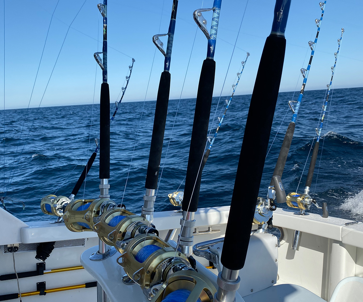 offshore boating in ocean city maryland with four rods