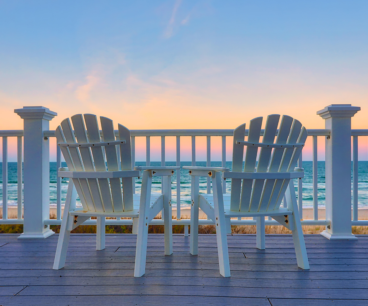 deck chairs set up to enjoy ocean city maryland beach