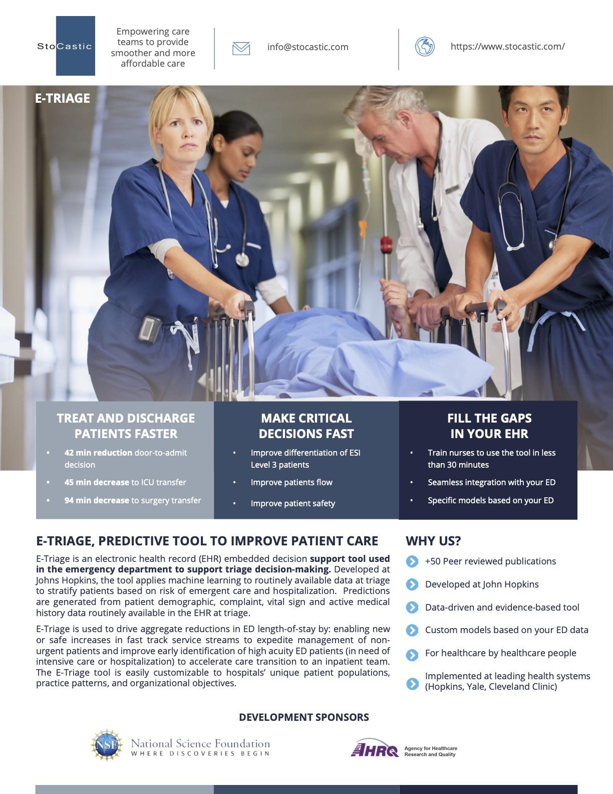E-Triage Sales Flyer for Nurse Administrators