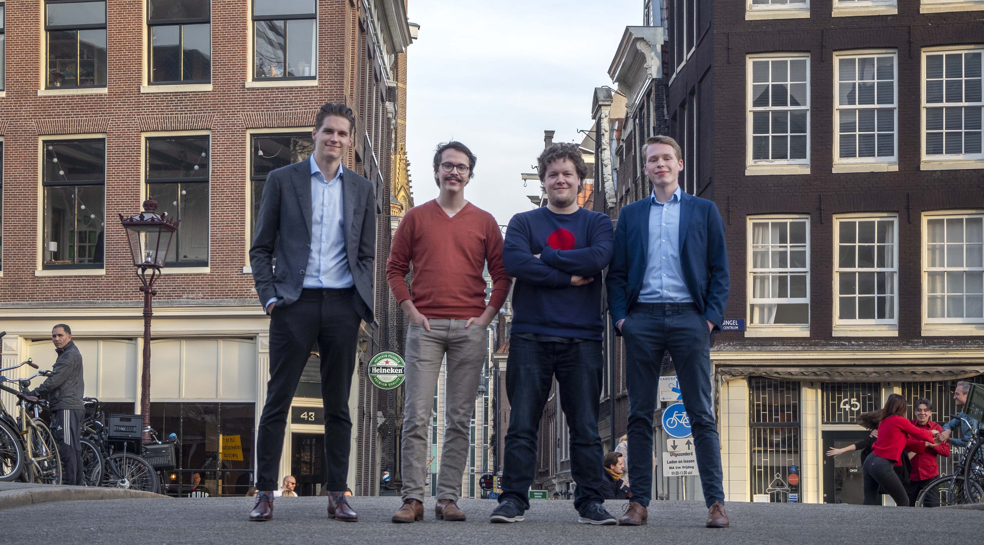 CodeGrade's founding team: Youri Voet, Thomas Schaper, Olmo Kramer and Devin Hillenius