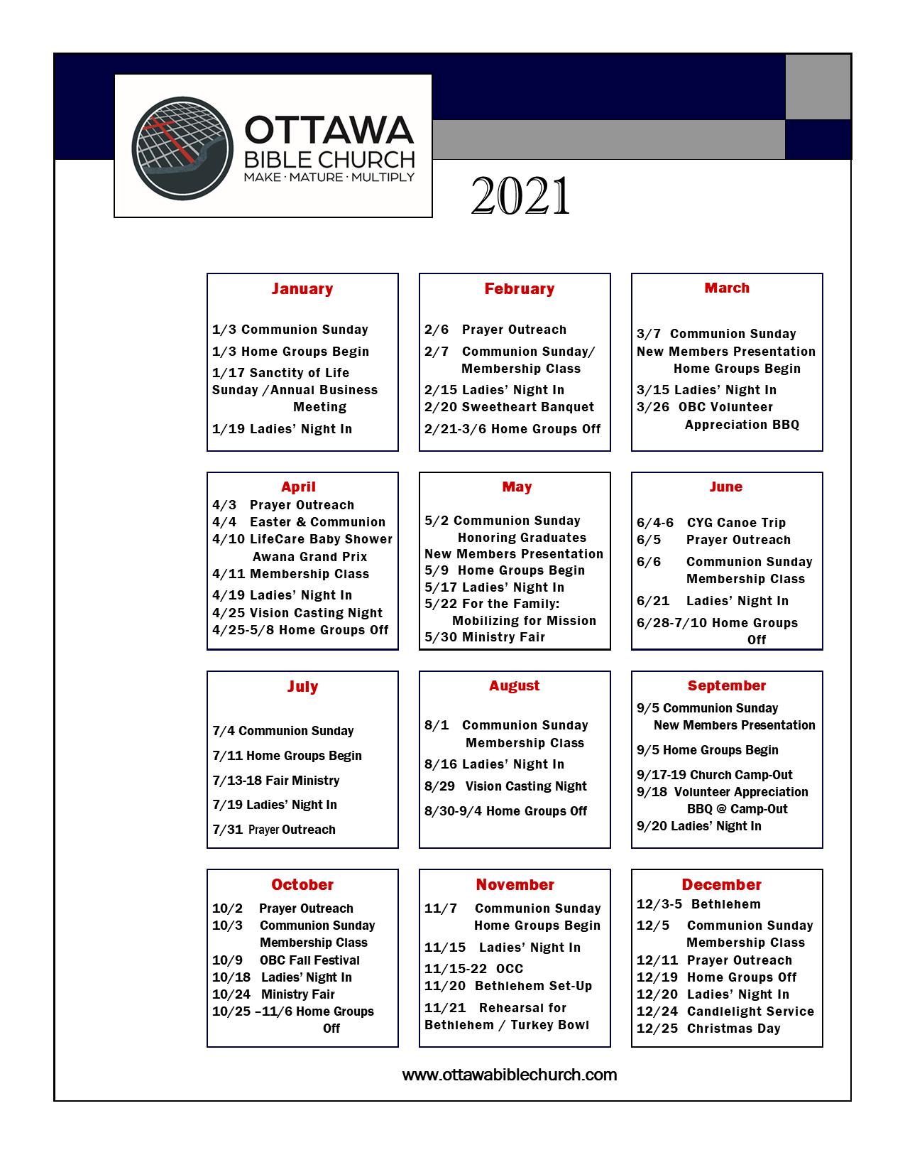 OBC Event Calendar for 2021
