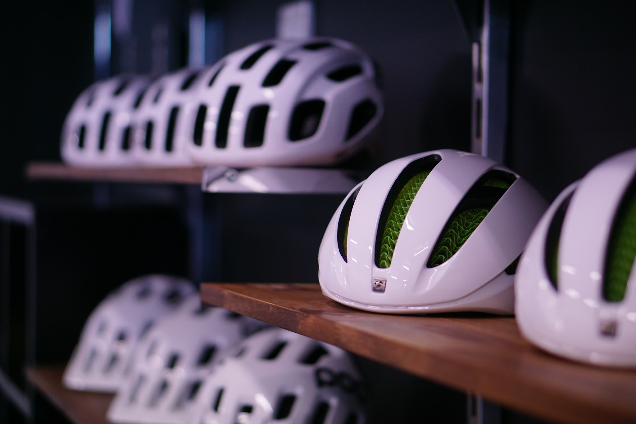 Bontrager helmets on display in bike shop