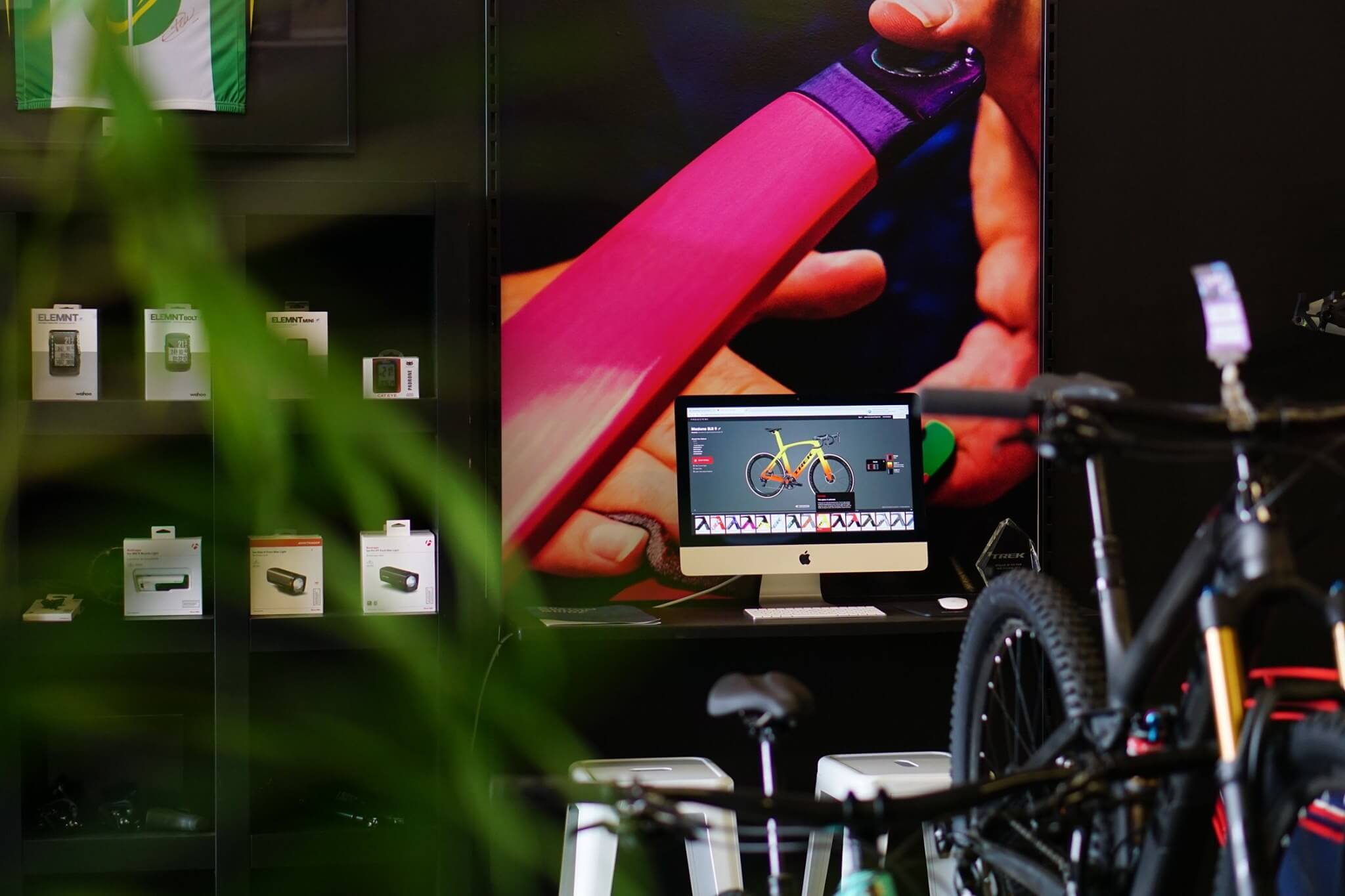 Bike shop showroom with Trek Project One